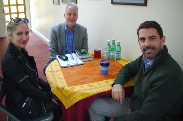 Anna Mazzola and  Richard Mason talking to Julian Worricker